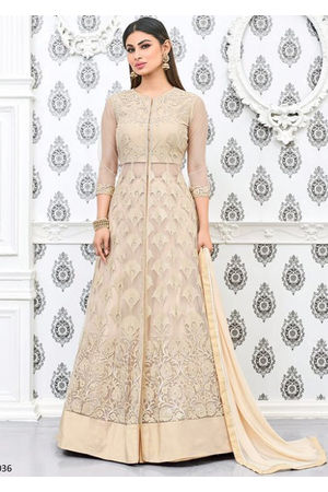 Mouni Roy Beige Long Anarkali Salwar Suit