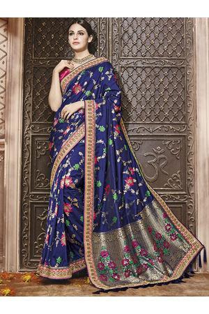 Navy Blue Kanjeevaram silk saree with embroidery