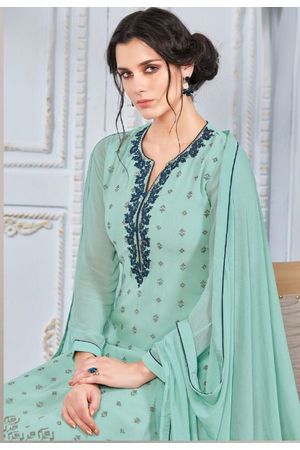 Embroidered Georgette Straight Salwar Suit_103