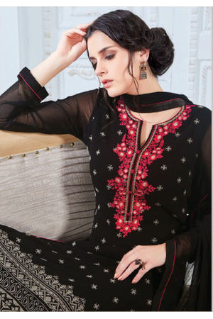 Embroidered Georgette Straight Salwar Suit_104