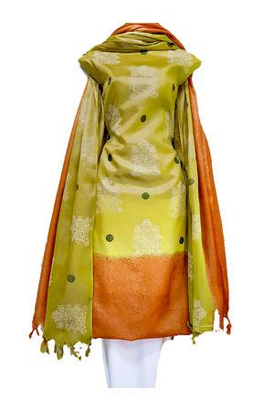 Block Printed Pure Tussar Silk Material in Olive Shade