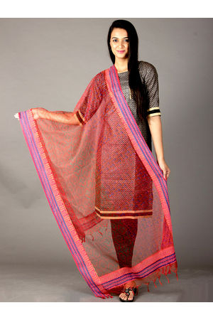 Dee's Alley Pink Red Hand Painted Organza Dupatta