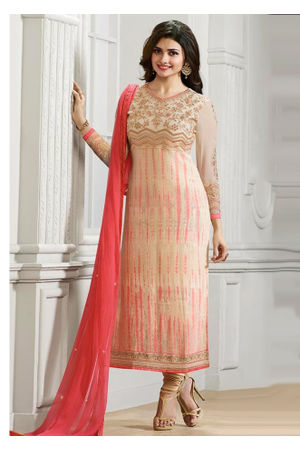 Prachi Desai Shaded Peach Pink Straight Suit