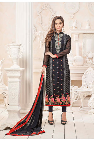 Navy Blue Embroidered Georgette Salwar Kameez