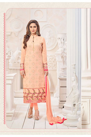 Peach Color Embroidered Georgette Salwar Kameez