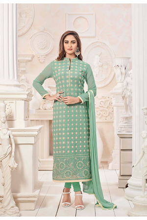 Green Color Embroidered Georgette Salwar Kameez