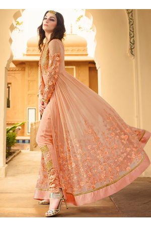Semi Stitched Peach Georgette Embroidered Indowestern Anarkali
