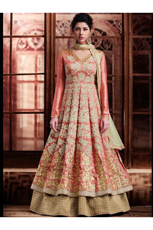 Gharara Style anarkali Lehenga In Peachish Pink Silk Fabric with Beautiful Embroidery