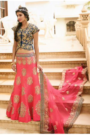 Pink and Blue  Raw Silk Heavy  Wedding Lehenga Choli