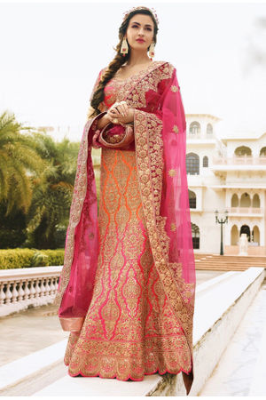 Pink and Orange  Raw Silk Heavy  Wedding Lehenga Choli