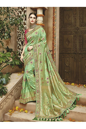 Pista Green Kanjeevaram Silk saree