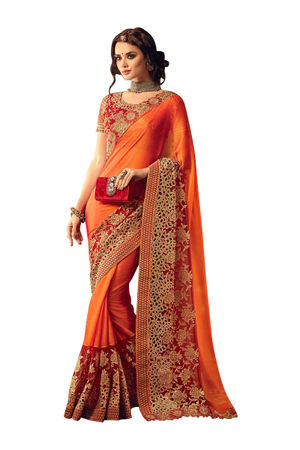 Orange Red Georgette Party Wear Designer Saree with Cut Work