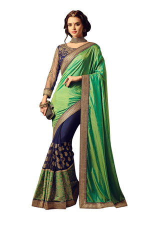Embroidered Blue Green Half n Half Wedding Saree