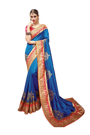 Blue Wedding Saree Kanjivaram Style with Meenakari Work