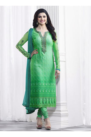 Prachi Desai Aqua Green Georgette Straight Suit 36