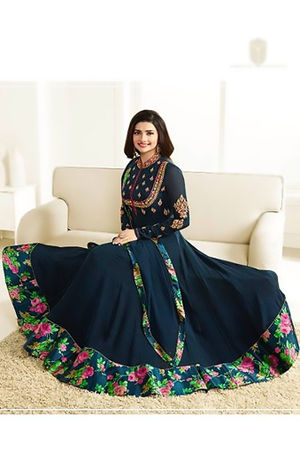 Floral Printed  Blue Anarkali Suit with Embroidered Yoke
