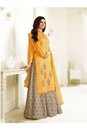 Floral Printed Yellow Anarkali Suit with Embroidered Yoke