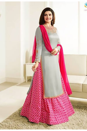 Floral Printed  Pink Anarkali Suit with Embroidered Yoke