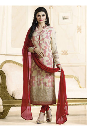 Prachi Desai cream georgette straight suit 705