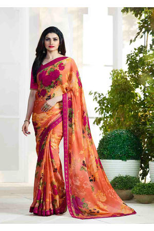 Prachi Desai in Printed Satin Saree_17971