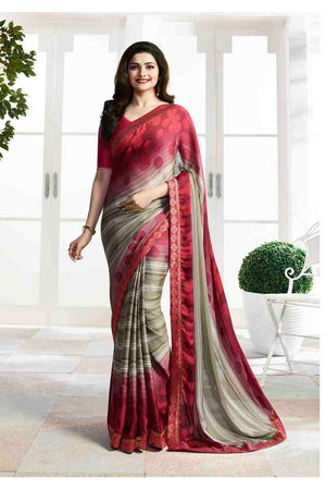 Prachi Desai in Printed Satin Saree_17980