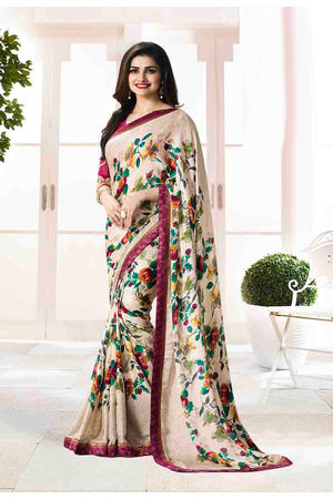 Prachi Desai in Printed Satin Saree_17974