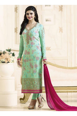 Prachi Desai mint green straight suit 703