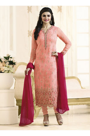Prachi Desai Pink georgette straight suit 699