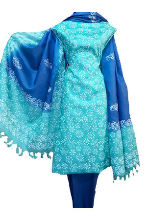 Pure Tussar Silk Material  in Shaded Blue Green Color