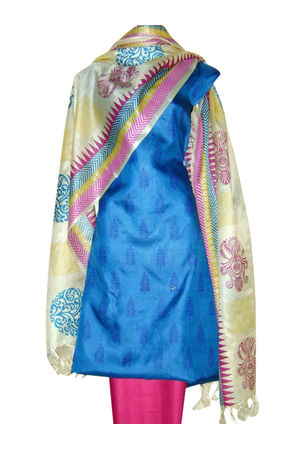 Printed Tussar Silk Suit Material Blue10