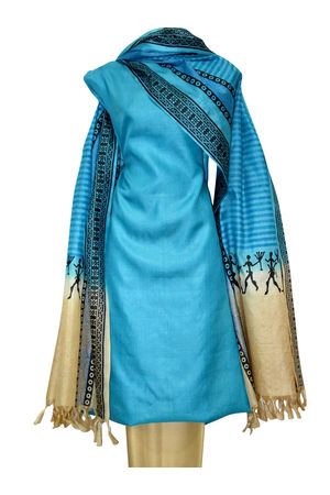 Printed Tussar Silk Suit Material Blue18