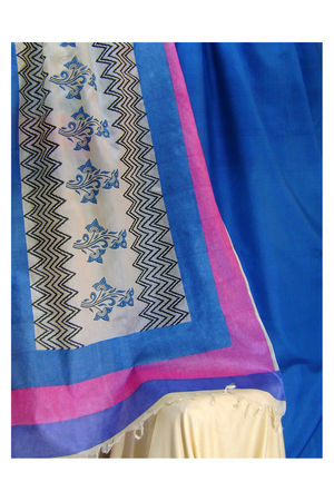 Printed Tussar Silk Suit Material Blue27
