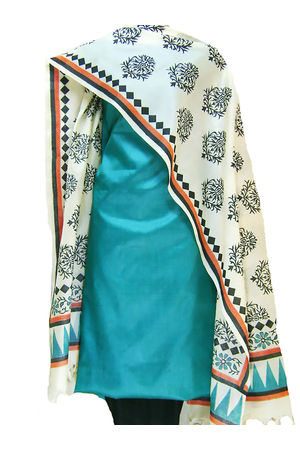 Printed Tussar Silk Suit Material Blue28