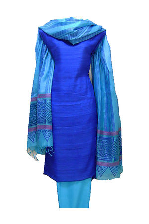 Printed Tussar Silk Suit Material Blue3