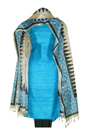 Printed Tussar Silk Suit Material Blue31