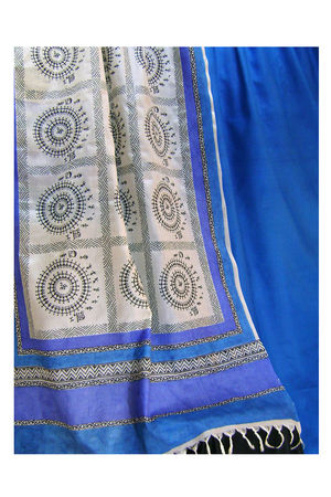 Printed Tussar Silk Suit Material Blue32