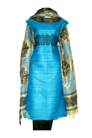 Printed Tussar Silk Suit Material Blue35