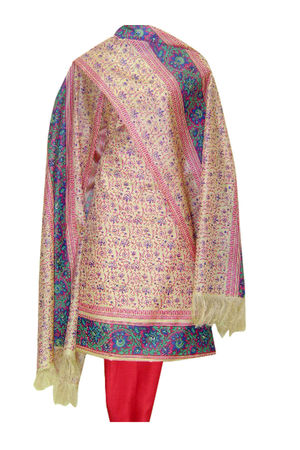 Printed Tussar Silk Suit Material Pink Color