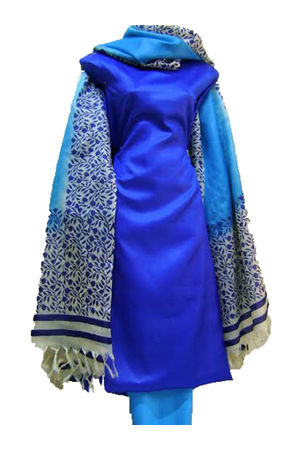 Printed Tussar Silk Suit Material Blue46