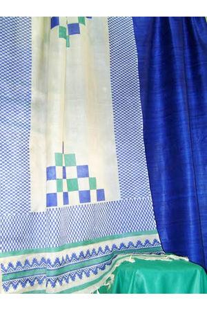 Printed Tussar Silk Suit Material Blue48