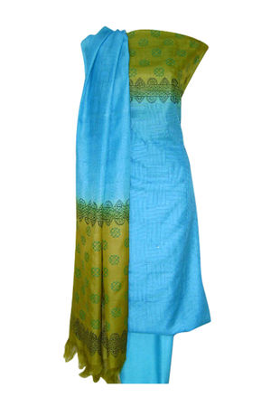 Printed Tussar Silk Suit Material Blue7