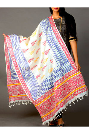 Dee's Alley Pure Tussar Silk Dupatta - Block Printed in White