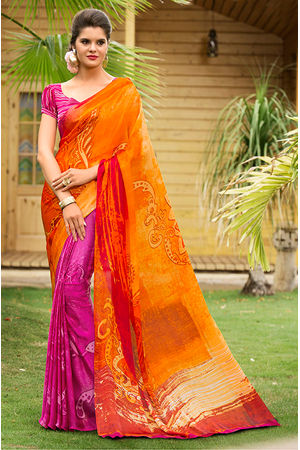 Georgette Satin  Orange Saree with Abstract Prints