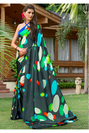 Georgette Satin  Green Saree with Abstract Prints