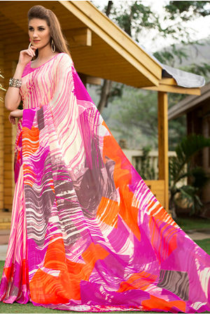 Georgette Satin Pink Saree with Abstract Prints