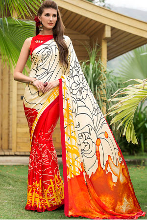 Georgette Satin Red Saree with Abstract Prints