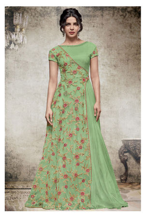 Priyanka Chopra Long Anarkali Gown in Green Color