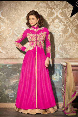 Layered Hot Pink Embroidered Anarkali Suit Featuring Priyanka Chopra