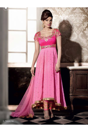 Pink Colour Georgette Asymmetrical Anarkali Suit