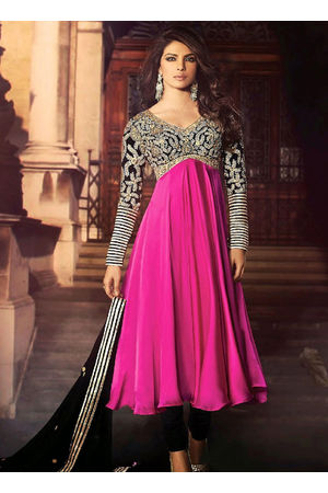 Priyanka Chopra Pink and Black Party Wear Anarkali